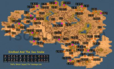 Map of enemy camps: Sinbad and the Sea Snake